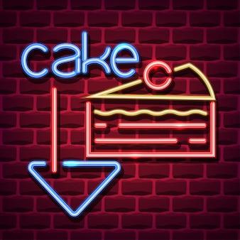 Neonowy znak reklamowy ciasta