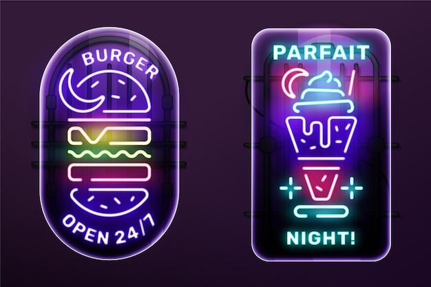 Neonowy znak restauracji burger