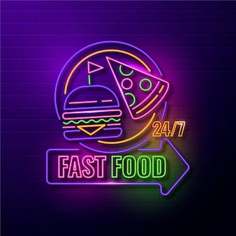 Neonowy znak restauracji fast food