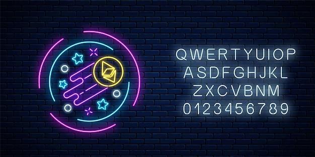 Neonowy znak rosnącej waluty ethereum z alfabetem. kryptowaluta rośnie emblemat z kształtami gwiazd w okrągłej ramce na tle ciemnego ceglanego muru. ilustracja wektorowa.