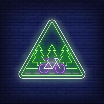 Neonowy znak ścieżki rowerowej