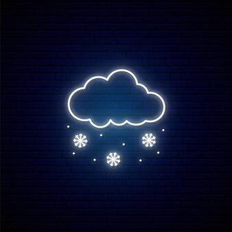 Neonowy znak śniegu.