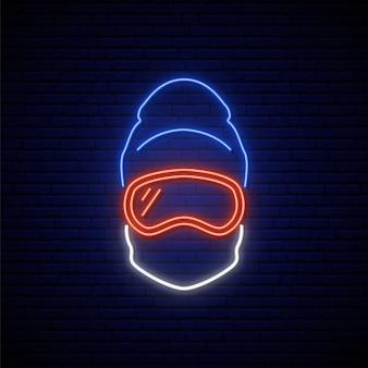 Neonowy znak snowboardzisty