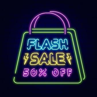 Neonowy znak sprzedaży flash ze zniżką