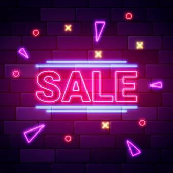 Neonowy znak sprzedaży o geometrycznych kształtach
