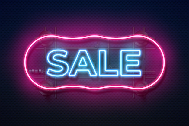 Neonowy znak sprzedaży. retro lekka rama, futurystyczny świecący kształt granicy, streszczenie reklama kolor tła. realistyczny neon