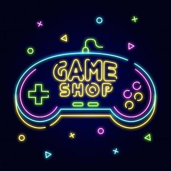 Neonowy znak sprzedaży w sklepie z grami