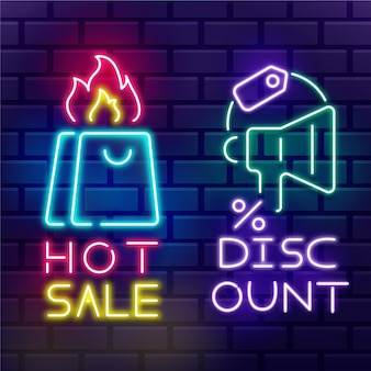 Neonowy znak sprzedaży ze zniżką