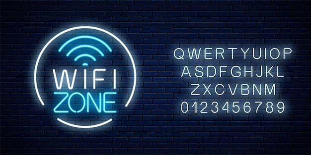 Neonowy znak strefy darmowego wifi w okrągłej ramce z alfabetem. bezprzewodowe połączenie bezpłatny dostęp do kawiarni, klubu nocnego lub baru