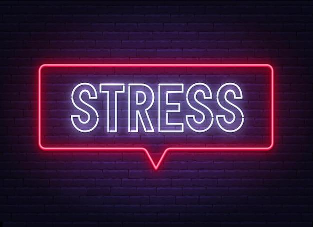 Neonowy znak stresu na ilustracji tle ściany z cegły