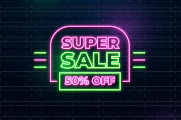 Neonowy znak super sprzedaży ze zniżką