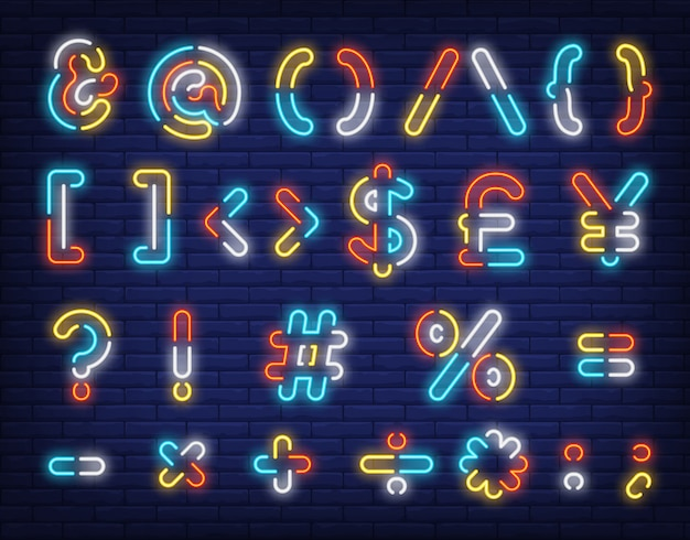 Neonowy znak symboli wielobarwny tekst