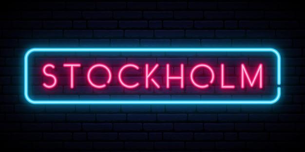 Neonowy znak sztokholmski na niebieskiej ścianie