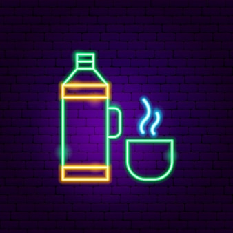 Neonowy znak termosu. ilustracja wektorowa promocji napojów.