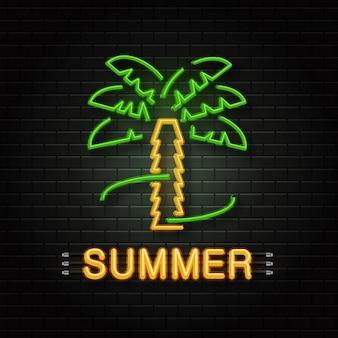 Neonowy znak tropikalnej palmy do dekoracji na tle ściany. realistyczne neonowe logo na lato. koncepcja szczęśliwych wakacji i wypoczynku.