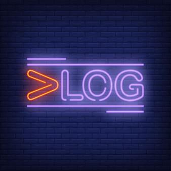 Neonowy znak vlog. twórczy jasny tekst z czerwoną pierwszą literą. noc jasna reklama.