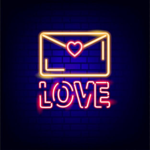 Neonowy znak. walentynki. świecący tekst.