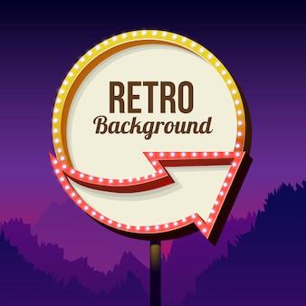 Neonowy znak z światłami. retro billboard w mieście nocą. czyste miejsce z ramą. wolumetryczna rama vintage. znak drogowy. znak drogowy czerwony z lat 50-tych