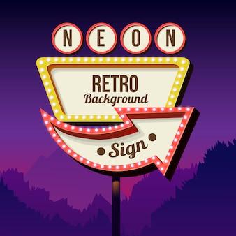 Neonowy znak z światłami. retro billboard w mieście nocą. czyste miejsce z ramką 3d. wolumetryczna rama vintage. znak drogowy. znak drogowy czerwony z lat 50-tych.