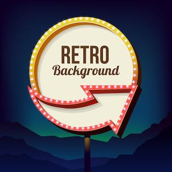 Neonowy znak z światłami. retro billboard w mieście nocą. czyste miejsce z ramką 3d. wolumetryczna rama vintage. znak drogowy. znak drogowy żółty z lat 50-tych.
