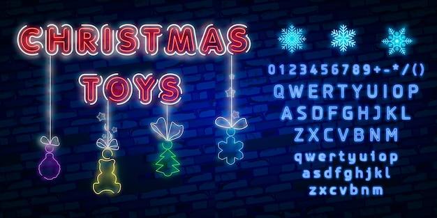 Neonowych ikon kolorowy set. tekst wesołych świąt w środku. dekoracyjne symbole ferii zimowych.