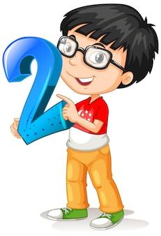 Nerdowaty chłopak w okularach, trzymając numer matematyki dwa