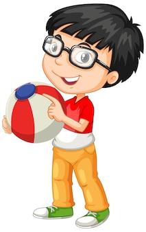 Nerdy chłopiec w okularach, trzymając piłkę kolorów