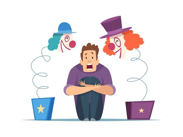 Nerwowy człowiek. mężczyzna w panice, strach przed klaunami. na białym tle facet krzyczy, przerażające cyrkowe zabawki ilustracji wektorowych. bój się klauna i zła horror, strach przed fobią
