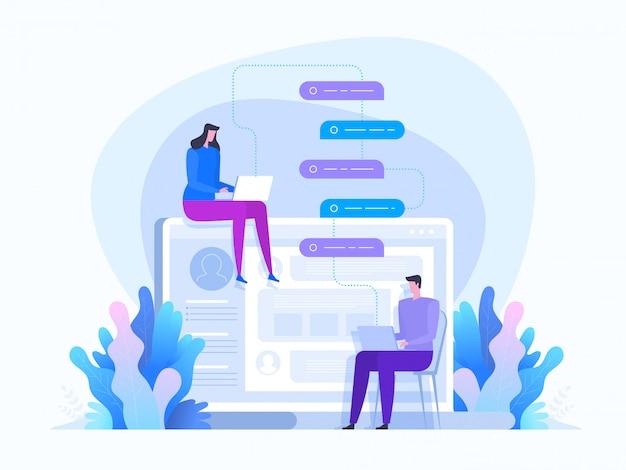 Networking. komunikacja w sieciach społecznościowych. dziewczyna i facet na czacie
