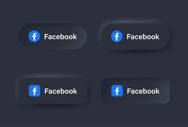 Neumorficzna ikona logo facebooka w czarnym przycisku dla ikon mediów społecznościowych logo w przyciskach neumorfizmu