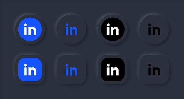 Neumorficzna ikona logo linkedin w czarnym przycisku dla ikon mediów społecznościowych, logo w przyciskach neumorfizmu