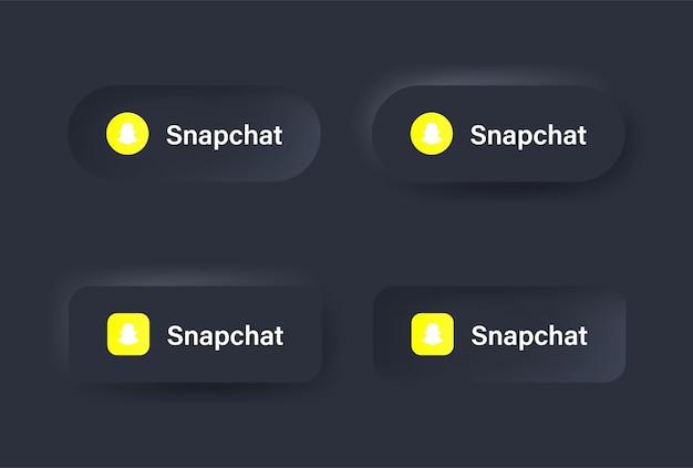 Neumorficzna ikona logo snapchat w czarnym przycisku dla ikon mediów społecznościowych logo w przyciskach neumorfizmu