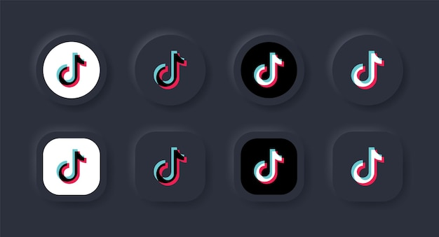 Neumorficzna ikona logo tiktok w czarnym przycisku dla ikon mediów społecznościowych logo w przyciskach neumorfizmu