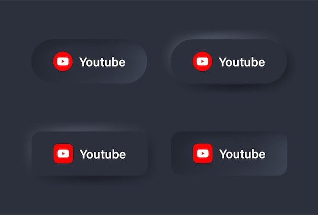 Neumorficzna ikona logo youtube w czarnym przycisku dla ikon mediów społecznościowych logo w przyciskach neumorfizmu