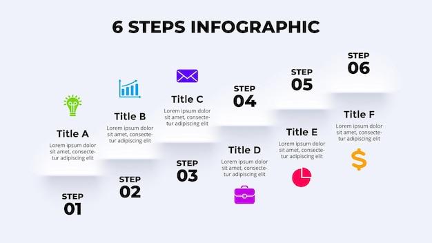 Neumorficzny wektor infografika prezentacja szablon slajdu schody kroki neumorfizm skeuomorfizm