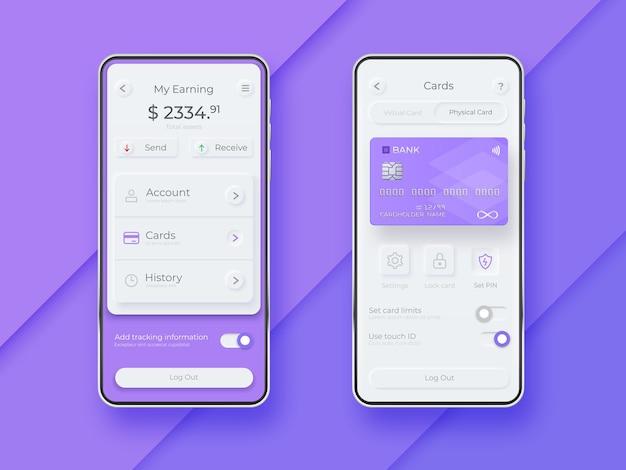 Neumorficzny zestaw ui na ekranie smartfona. szablon smartfona płatności mobilnej. aplikacja interfejsu mobilnego portfela. szablon interfejsu użytkownika