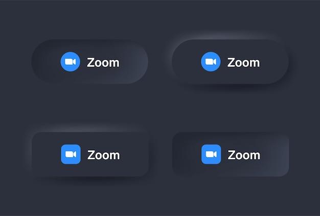 Neumorficzny zoom ikona logo spotkania w czarnym przycisku w ikonach mediów społecznościowych logo w przyciskach neumorfizmu