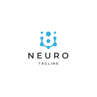 Neuro logo design concept tech neuron connect data science niebieski płaski wektor
