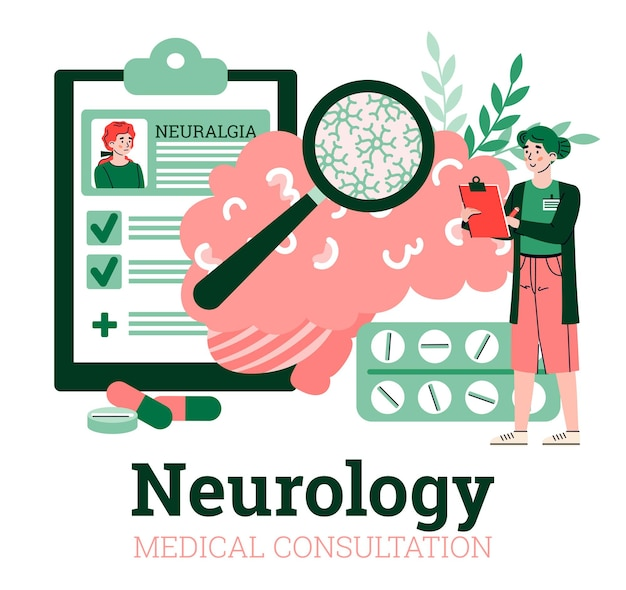 Neurologia konsultacja medyczna reklama transparent wektor ilustracja kreskówka