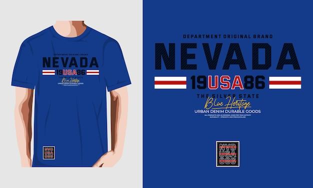 Nevada city projekt typografii projekt koszulki premium wektor