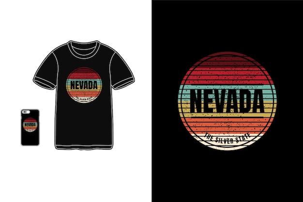 Nevada stan srebrny, makieta koszulki typografia