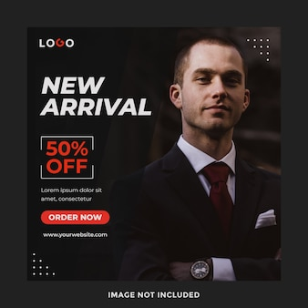 New arrival marketing moda sprzedaż banner szablon postu w mediach społecznościowych
