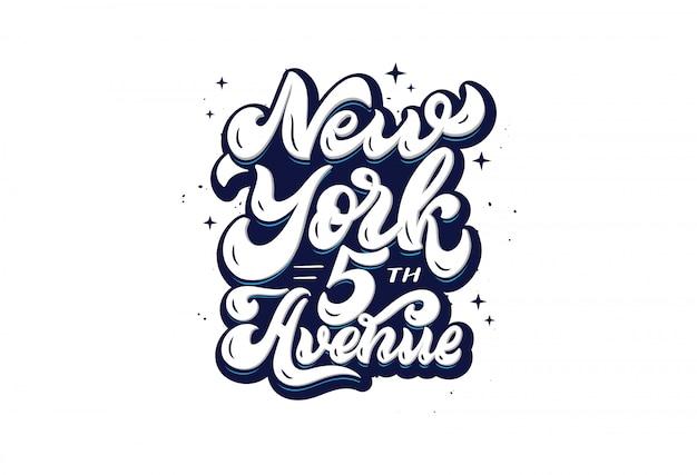 New york 5th avenue - ręcznie rysowane frazę literowanie na białym tle