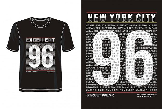 New york 96 typografia do koszulki z nadrukiem