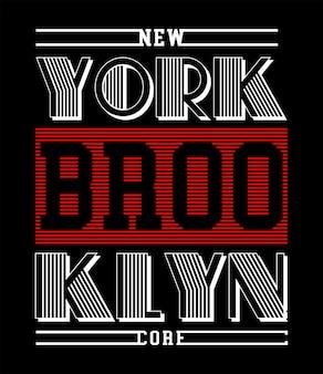 New york brooklyn typografia do koszulki z nadrukiem