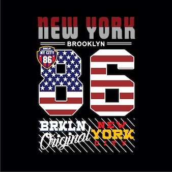 New york brooklyn typografia t shirt wektor