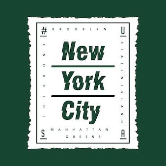 New york city box streszczenie typografii t shirt design