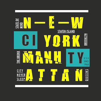 New york city typografii t shirt design