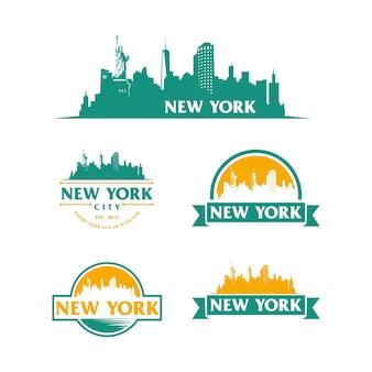 New york logo skyline i zabytki sylwetka wektor