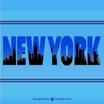 New york skyline sylwetka typograficzny wektor